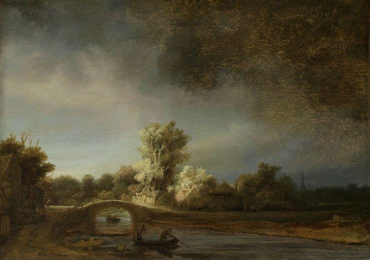 Landschap met stenen brug, Rembrandt Harmensz. van Rijn, ca. 1638