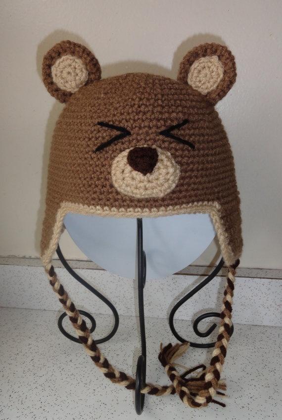 Hand Crochet Bear Hat by scotako on Etsy, $16.00