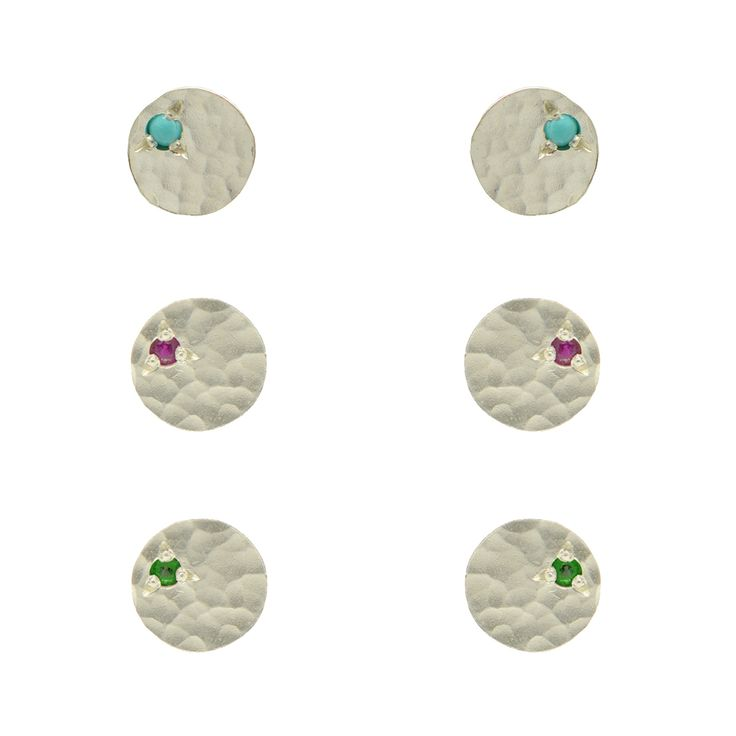 Hammered Sequin Stud Earrings with Gemstones