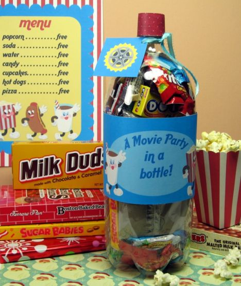 movie in a bottle ~ creative way to give a movie gift card and snacks -- or modify with wrapped dvd's & insert candy & microwave popcorn ~ creative gift ideas
