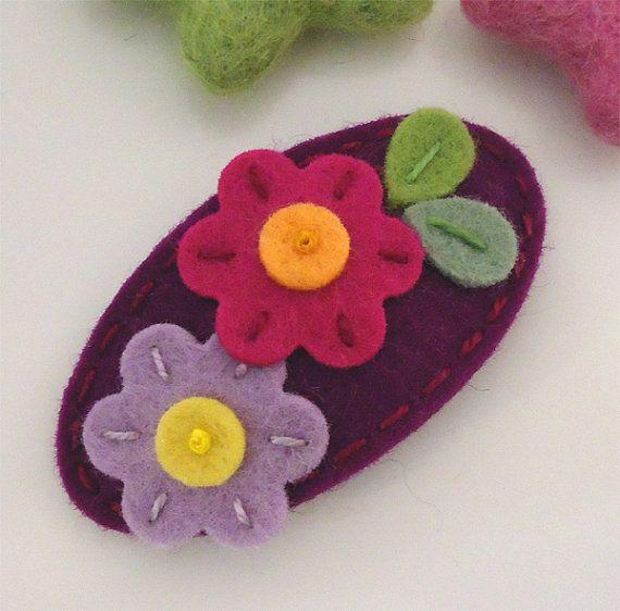 NO SLIP Wool felt hair clip Flora red purple by MayCrimson on Etsy
