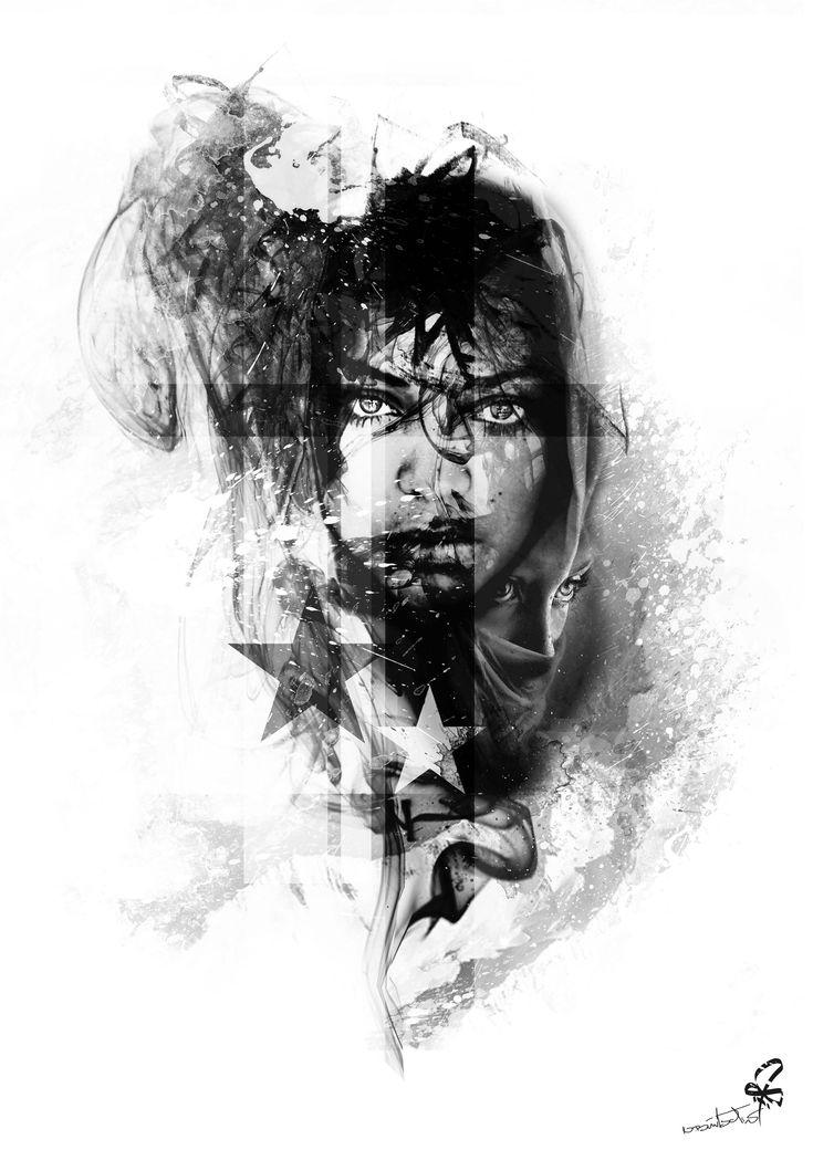 Photoshop, Collage, Tattoo, woman,smoke, Burtscher N.