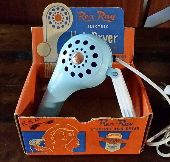 Rare Vintage Hair Dryer w/original box Rex Ray powder blue