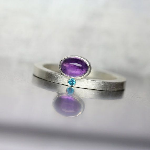 Modern Oval Amethyst Paraiba Topaz Silver Ring Purple Electric Blue Minimalistic…