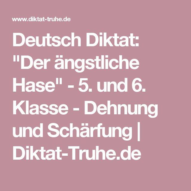 """Deutsch Diktat: """"Der ängstliche Hase"""" - 5. und 6. Klasse - Dehnung und Schärfung   Diktat-Truhe.de"""