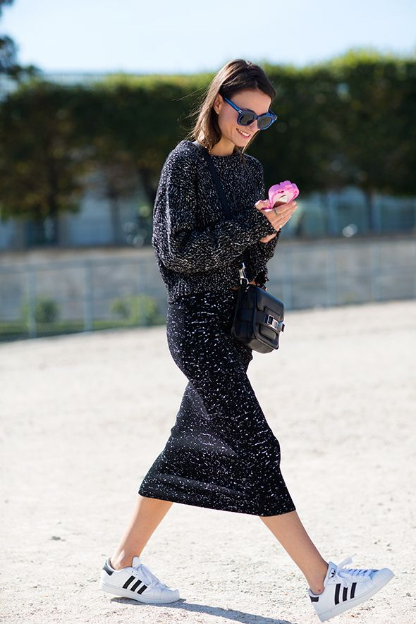 Skirts & Sneakers Trend: Charcoal marled knit midi skirt and sweater, worn  with black and white Adidas.