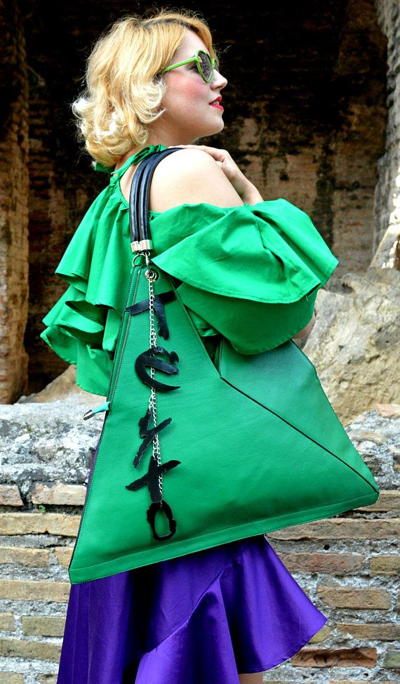 Extravagant Green Leather Tote, Funky Large Leather Bag, Green Leather Shoulder Bag with Personalized Leather Letters TLB23, La Dolce Vita