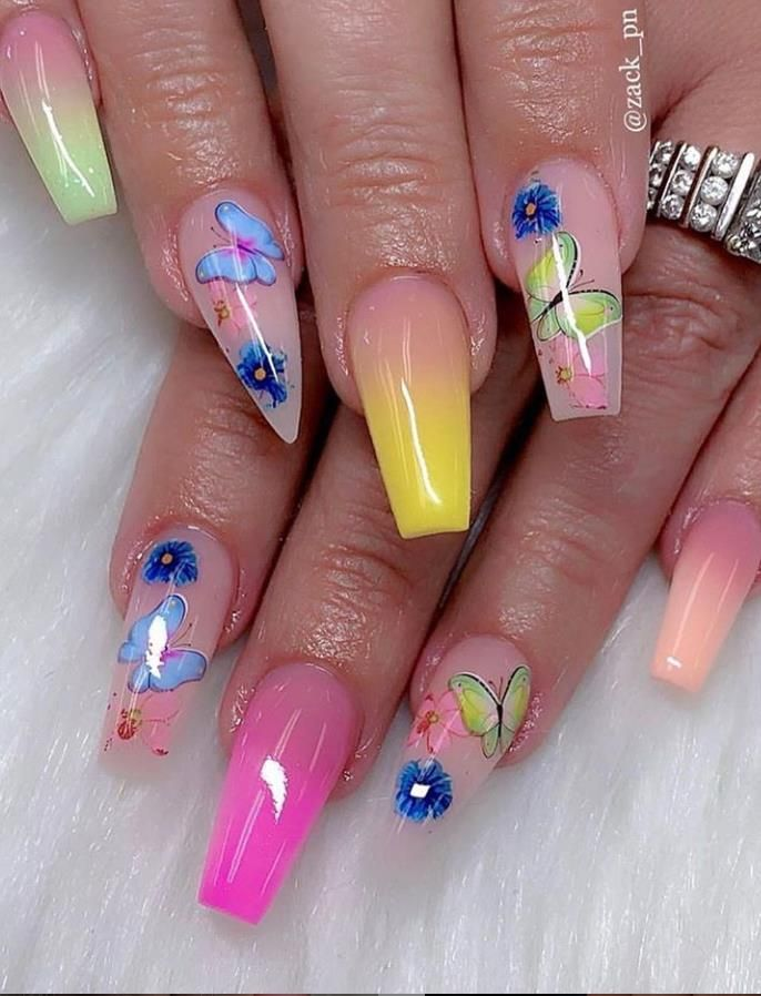 Beautiful Butterfly Long Coffin Nails Art Designs For Summer 2020 Lily Fashion Style In 2020 Nail Designs Summer Acrylic Nail Art Designs Coffin Nails Long