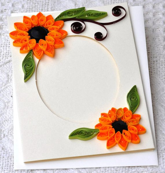 Handmade quilled frame 2 fold card. Card is left blank inside so you can write special message. It's a beautiful card with bright quilled