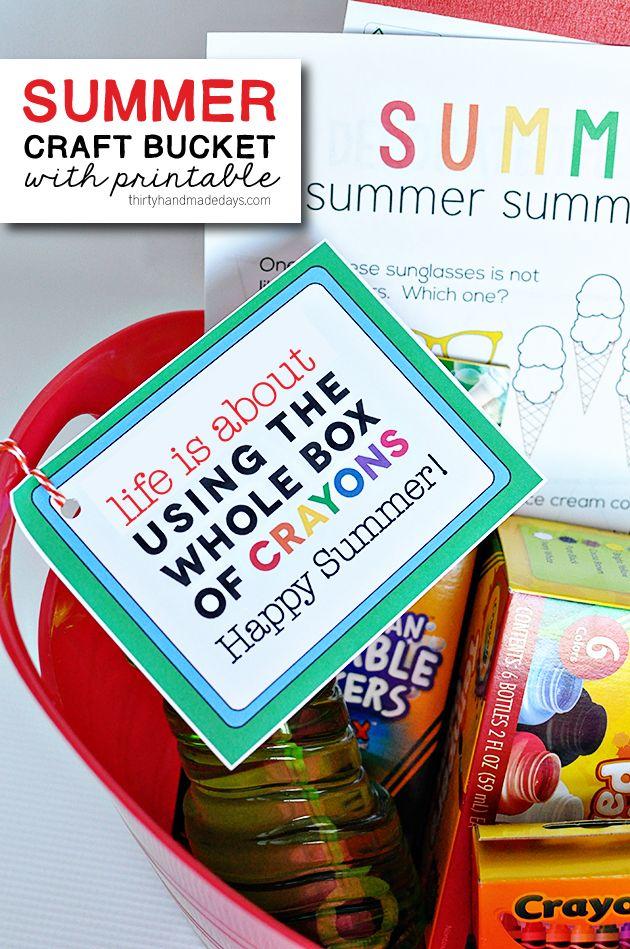 Summer Craft Bucket with cute printable www.thirtyhandmadedays.com