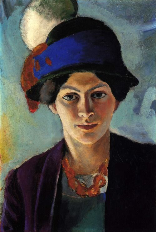 August Macke (German, 1887–1914) - Portrait of the Artist's Wife with a Hat, 1909