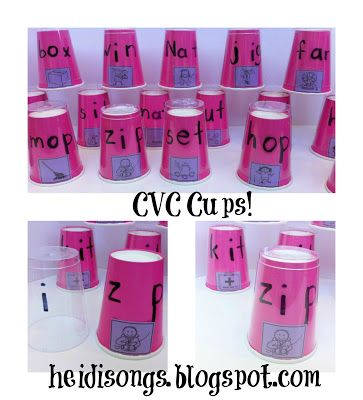 c-v-c cups-clear cups with vowel written on it get placed over colored cups with beginning and ending sound.