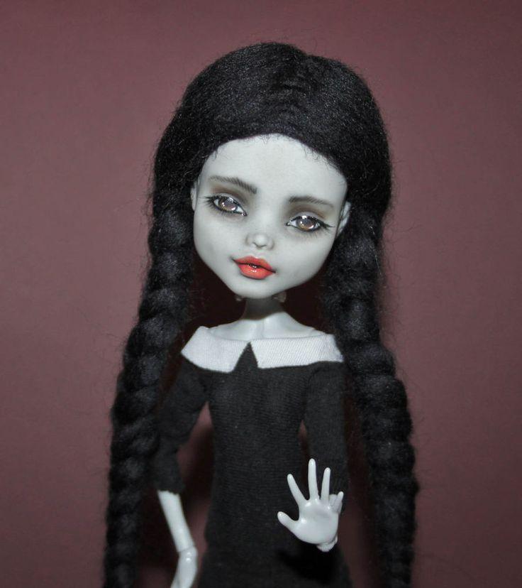 Hello, Wednesday:  Monster High OOAK Wednesday Addams Frankie Stein doll custom repaint