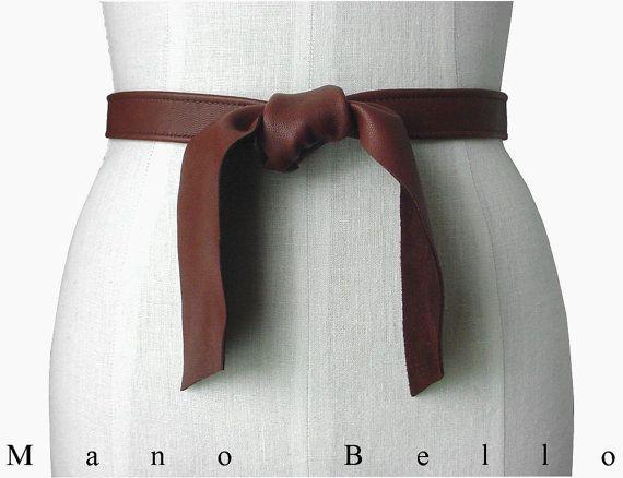 Soft Leather Tie Belt, Leather Coat Belt,  Favorite Skinny Belt, Brown Leather Tie Belt 3/4 inch wide 24 - 46 waists, custom order