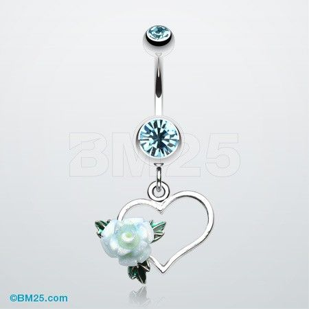 Glittering Sweet Heart with Rose Belly Button ring #navel #piercing #jewelry #fashion