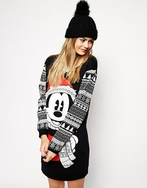 ASOS Jumper Dress in Christmas Mickey Mouse Fairisle Print