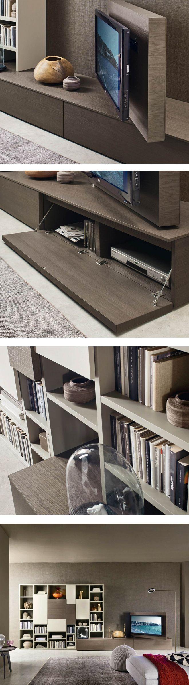 Die Livitalia Design Wohnwand C45 hat ein Bücherregal, ein TV Lowboard und ein schwenkbares TV Paneel. #Wohnwand #Regal #Bücherregal #wallsystem #wallunit #TV #TVPaneel #modern #minimalistisch #Wohnzimmer #livingroom #frame #shelf #bookcase #inspiration #Einrichtungsideen #wohntrend #wohnstil #interiordesign #interiordecorating #home #wohnen