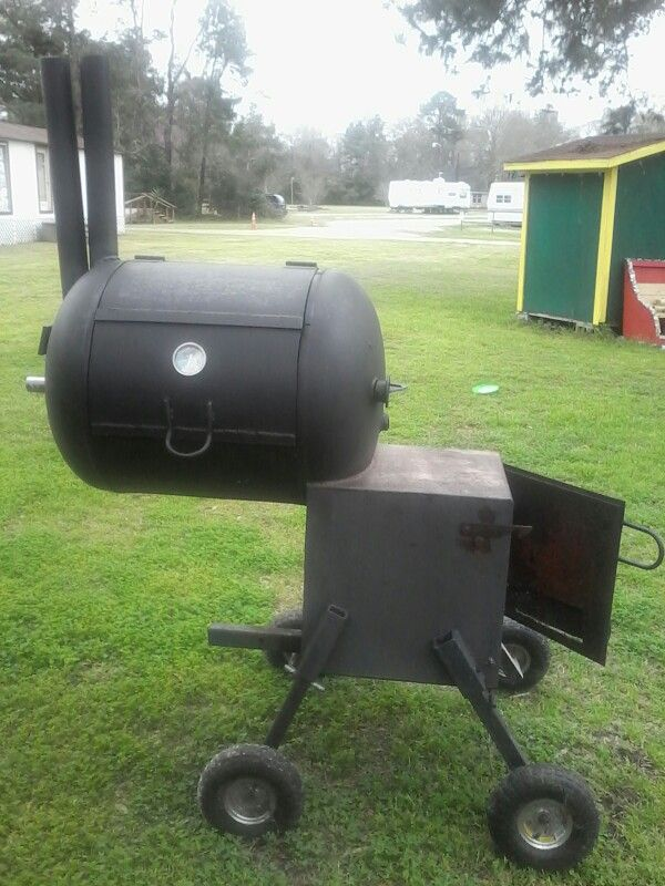Homemade smokers and grills/  This is #4.  It rides the hitch of a full size truck.  It's odd looking, but it sure can smoke!