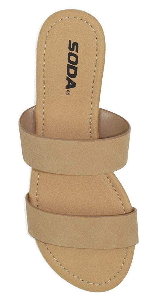 748f4431dfbc Soda Shoes Women Flip Flops Flat Basic Gladiator Sandals Beach Slides  Double Straps Browse-H