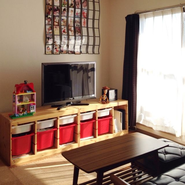 楽しくお片付け☆IKEAトロファストを使った収納   RoomClip mag ... ミックスカラーテレビ台