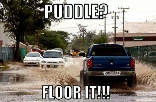 you know your a country girl when you see a puddle and all you can think to do is floor it!