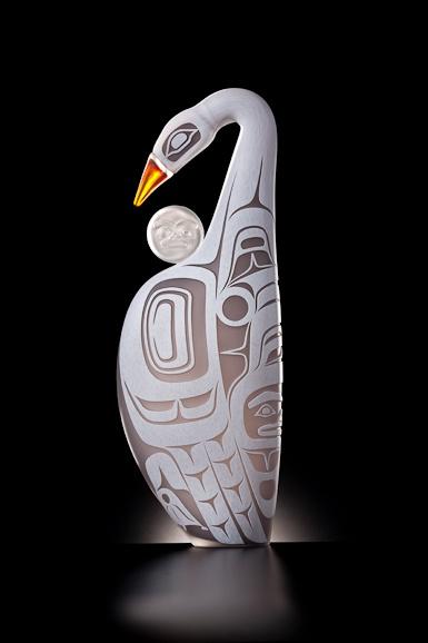 Moonlit Swan by Preston Singletary