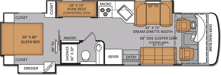 Rv floor plans with bunk beds new bunkhouse diesel Bunkhouse floor plans