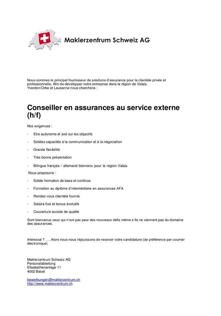 Nous sommes le principal fournisseur de solutions d'assurance pour la clientèle privée et professionnelle. Afin de développer notre entreprise dans la région de Valais, Yverdon/Orbe et Lausanne nous cherchons : Conseiller en assurances au service externe (h/f)