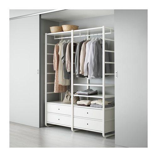 IKEA - ELVARLI, 2 elementen, Je kan deze open opbergoplossing altijd naar behoefte aanpassen of aanvullen. Misschien is de voorgestelde combinatie geschikt, anders kan je altijd een eigen maatwerkcombinatie samenstellen.Door de verstelbare planken en kledingroedes kan je de ruimte eenvoudig aanpassen aan de behoefte.Combineer bij voorkeur open en dichte opbergers - planken voor je lievelingspullen en lades voor dingen die je niet in het zicht wilt hebben.De ingebouwde demper vangt de lades…