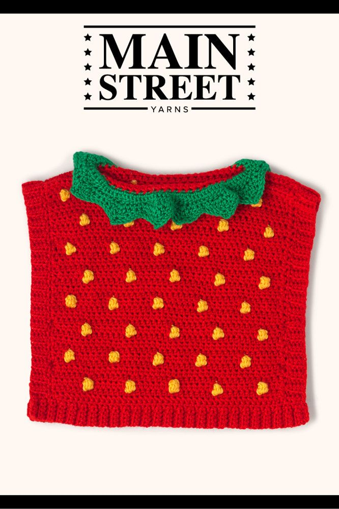 Strawberry Poncho In Main Street Yarns Shiny Soft Downloadable