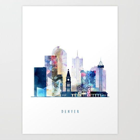 Denver colorful watercolor skyline, Colorado cityscape Art Print