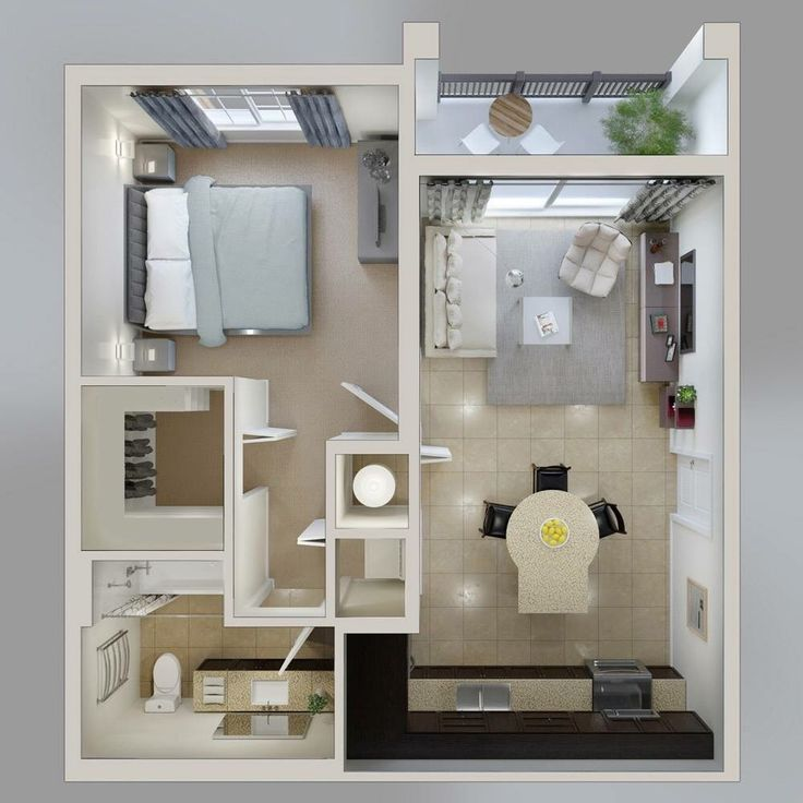 One bedroom apartment home design plans credit oryxre for Studio apartment design 3d