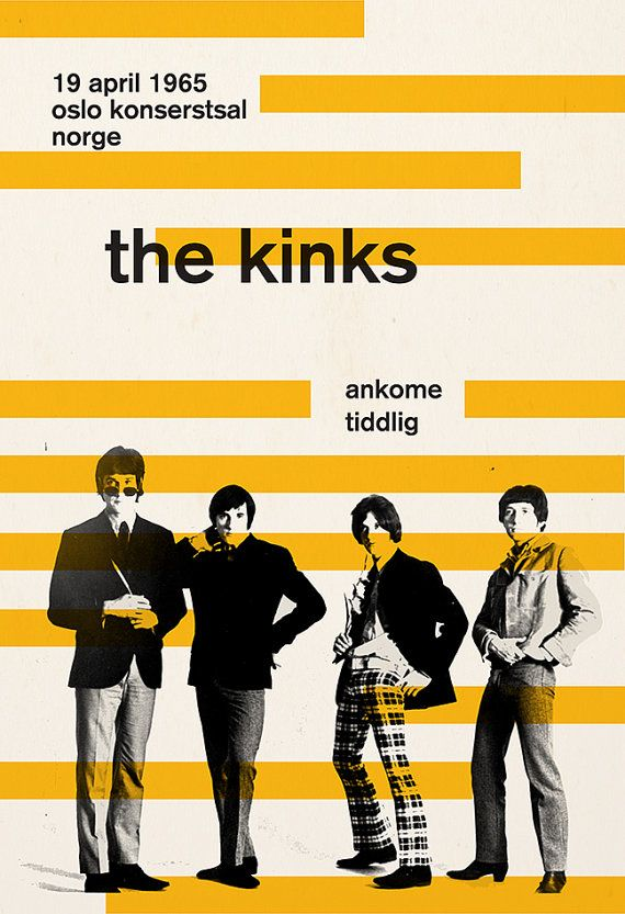 THE KINKS POSTER Retro Minimalist Music Poster Print Vintage Music Show Wall Art…