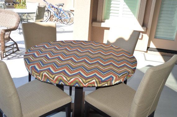 Round Fitted Tablecloth Outdoor Fabric Elastic Or