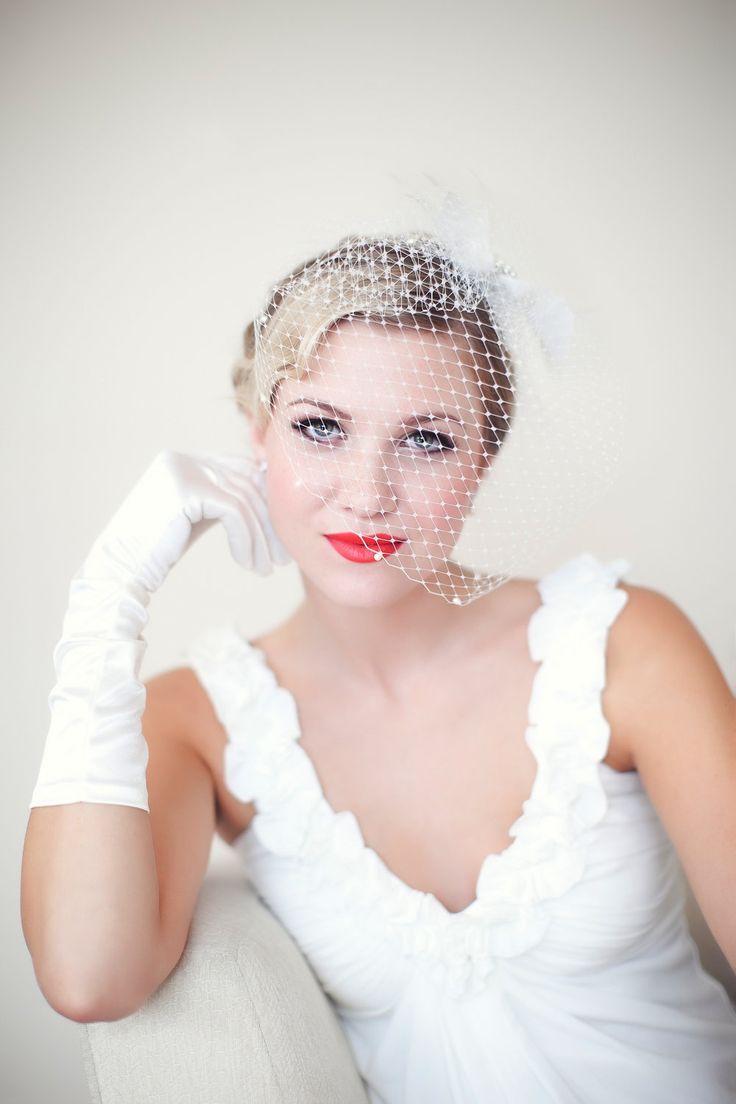 Vintage pearl bridal blog real brides news amp updates wedding - Vintage Bride With Red Lips Birdcage Veil Me Without Gloves Lacy Dress Smaller Veil