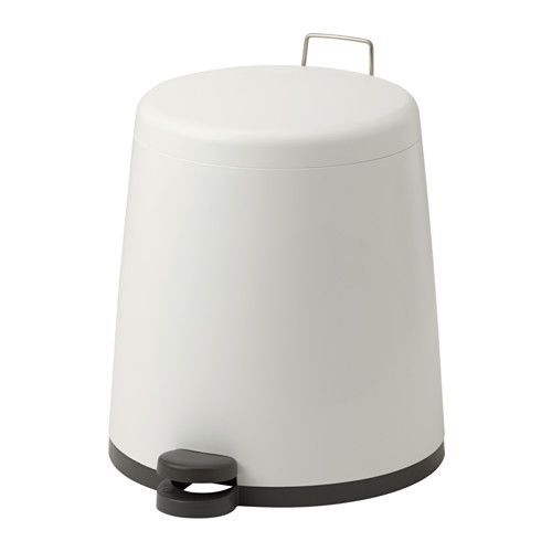 IKEA - SNÄPP, Pedal bin, white, , The bin is easy to move since it has a handle on the back.If you tuck the edges of the plastic bag into the handle of the inside container, it won't be visible when the pedal bin is closed.Easy to empty and clean as the inner bucket can be removed.You can use this bin anywhere in your home, even in damp areas like the kitchen and bathroom.