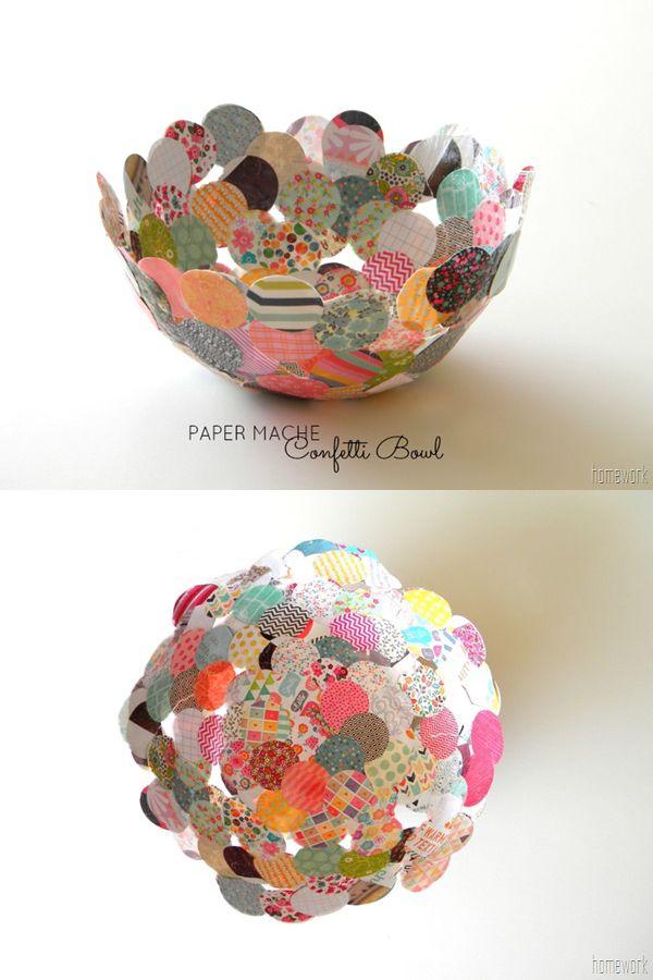 Ya habíamos visto aquí otro ejemplo de un bol realizado con confeti. En este caso el confeti es circular y de mayor tamaño. Si tienes una perforadora de papel que permite otras formas, podrías personalizar el acabado. Básicamente tendríamos que usar un bowl sobre el que fijar el confeti con …