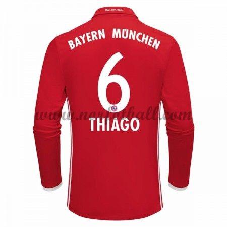 Billige Fotballdrakter Bayern Munich 2016-17 Thiago 6 Hjemme Draktsett Langermet