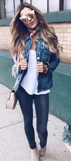 513cea8511 40+ cute denim jacket outfit ideas 2018 for ladies  denim  jeans  jackets   fashionoutfits  clothing  Casual