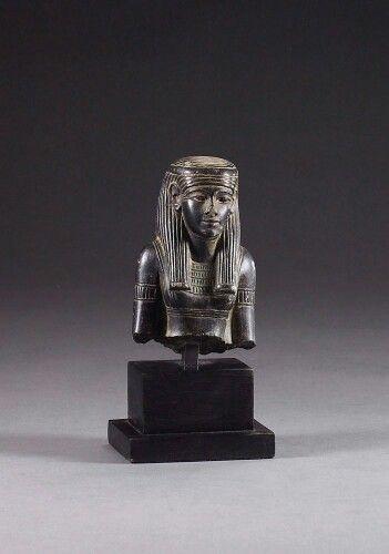 Black serpentine bust of a goddess (Ma'at?). New Kingdom. 19th dynasty, c. 1280 B.C. | Phoenix Ancient Art Gallery