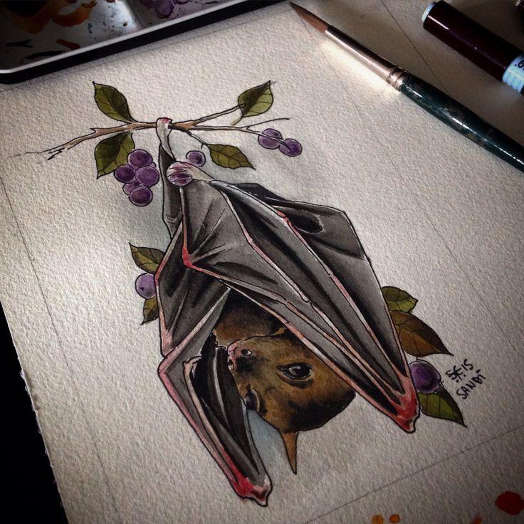 """NIGHT LOVERS""  Fruit  bat   Tattoo idea  Watercolor"