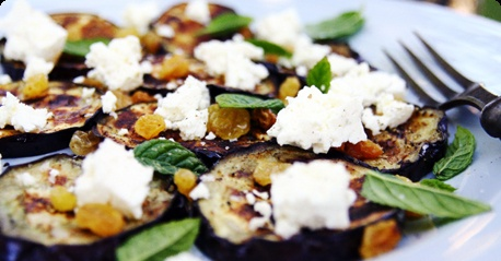 Grilled aubergine, mint and feta cheese