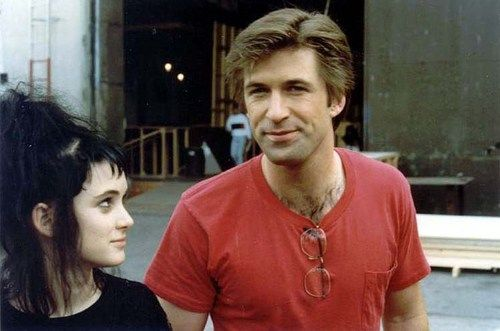 Alec Baldwin and Winona Rider on the set of Beetlejuice in 1987