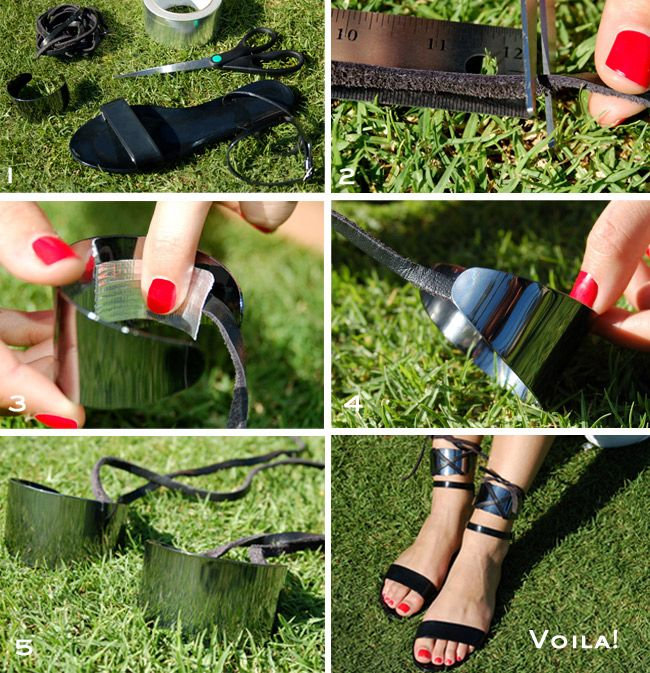 DIY - Ankle Cuffs by stylehive.com    These are super easy, and extremely edgy with the right sandals... I'm thinking a high-heeled wedge type.