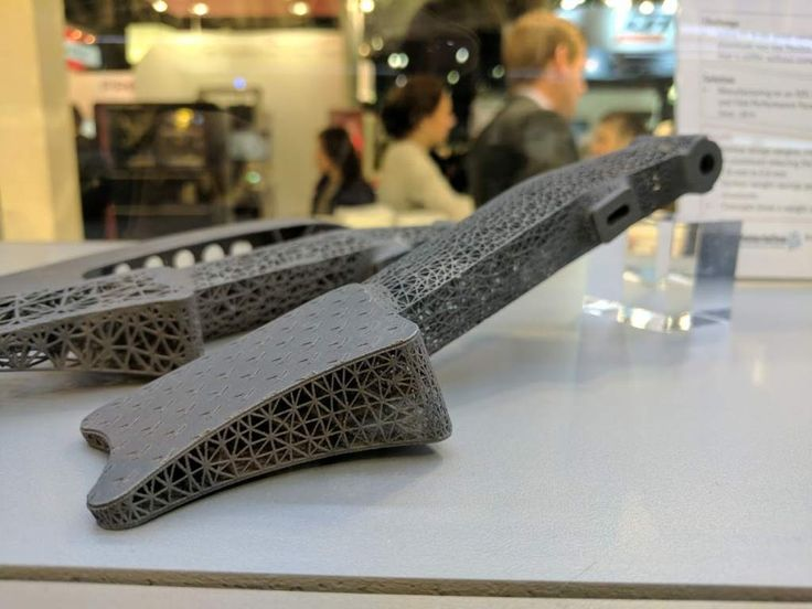 EOS F1 brake pedal with hollow design made from EOS Titanium Ti64 at Formnext 2016. Photo by Michael Petch.