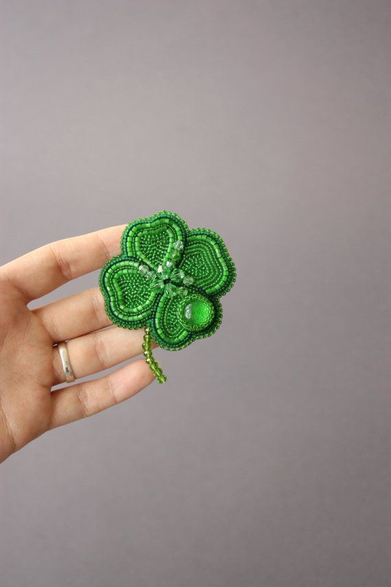 Brooch handmade Beaded Beadwork Embroidered brooch Clover Leaf Brooch with embroidery Green leaf Beaded Luck leaf Luck Irish Clover brooch
