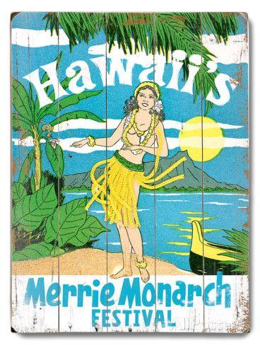 オールポスターズの「Merrie Monarch Festival」木製看板 #Hawaiian #Aloha #Hula