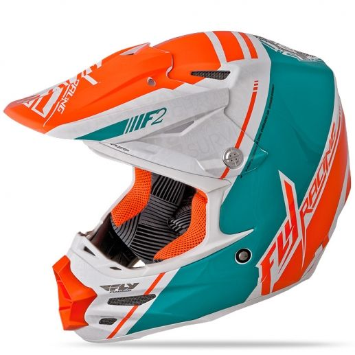 F2 Carbon Trey Canard Replica White/Teal/Orange Helmet | FLY Racing | Professional grade Motocross, BMX, MTB, Offroad, ATV, Snowmobile, and Watercraft apparel and hard parts