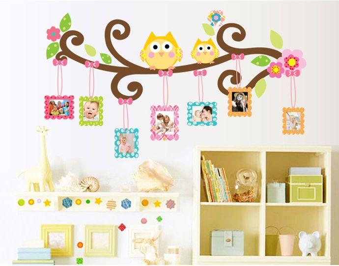 Fotorahmen Wandtattoo Sticker XL für Kinder Zimmer Eulen Baum Wand Tiere Deko