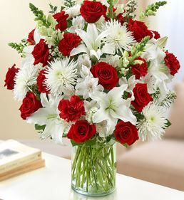 Sincerest Wishes Red and White Arrangement